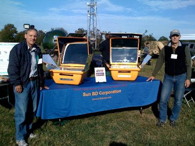David Chalker (left) demonstrating and showcasing his product around the country.